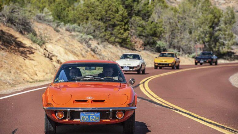 USA-Tour anlässlich des 50. Opel-GT-Geburtstages, Mai 2018. Opel GT im Zion National Park.