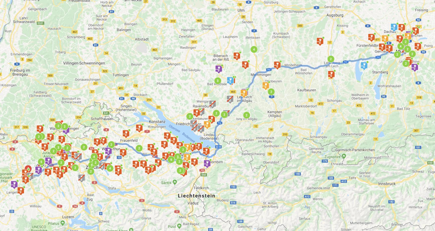 Chargemap.com Routenplaner für Ladestationen