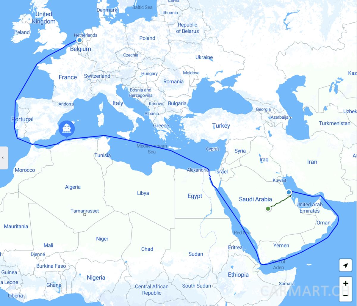 Schifffahrt von Saudi-Arabien nach Rotterdam