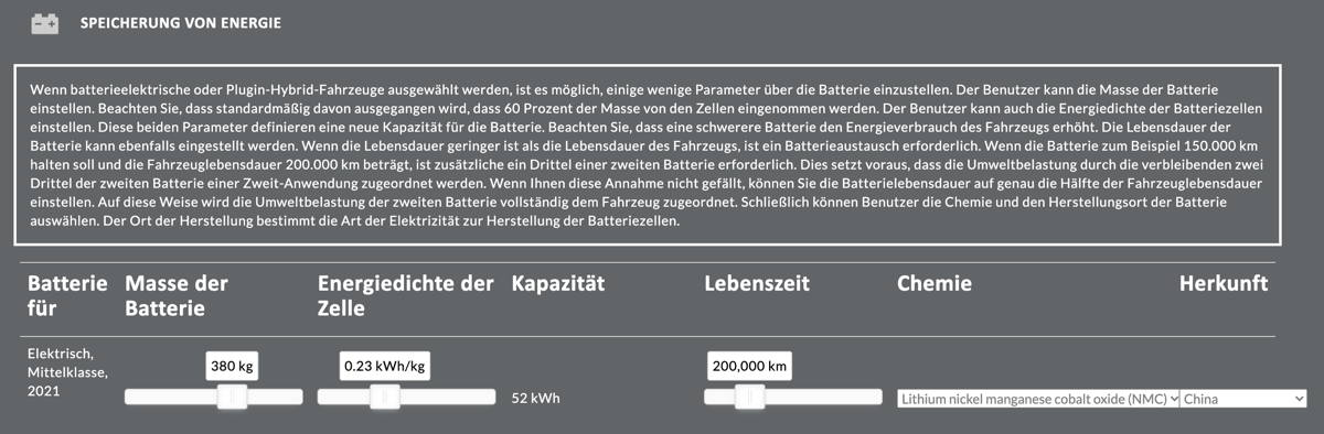 Carculator Energiespeicherung